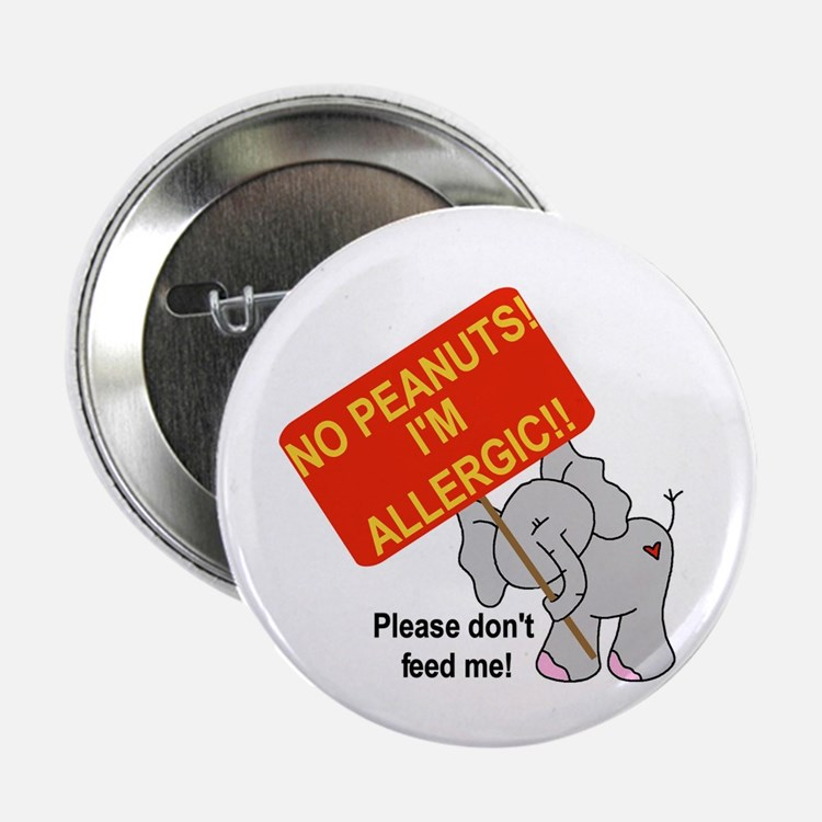 No Peanuts Elephant Button