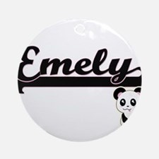 Emely Classic Retro Name Design w Ornament (Round)