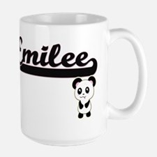 Emilee Classic Retro Name Design with Panda Mugs