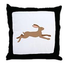 Leaping Rabbit Throw Pillow