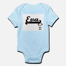 Eva Classic Retro Name Design with Panda Body Suit