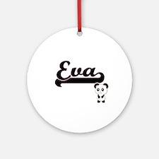 Eva Classic Retro Name Design wit Ornament (Round)