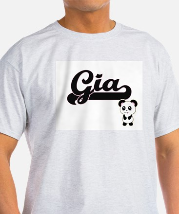 Gia Classic Retro Name Design with Panda T-Shirt