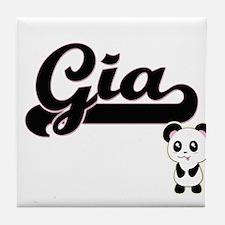 Gia Classic Retro Name Design with Pa Tile Coaster