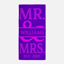 Purple Pink Mr. and Mrs. Personalized Beach Towel