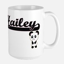 Hailey Classic Retro Name Design with Panda Mugs