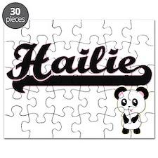 Hailie Classic Retro Name Design with Panda Puzzle