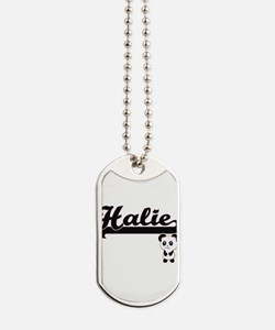 Halie Classic Retro Name Design with Pand Dog Tags