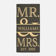 Muted Tan Mr. and Mrs. Personalized Beach Towel