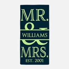 Green and Neon Mr. and Mrs. Personaliz Beach Towel