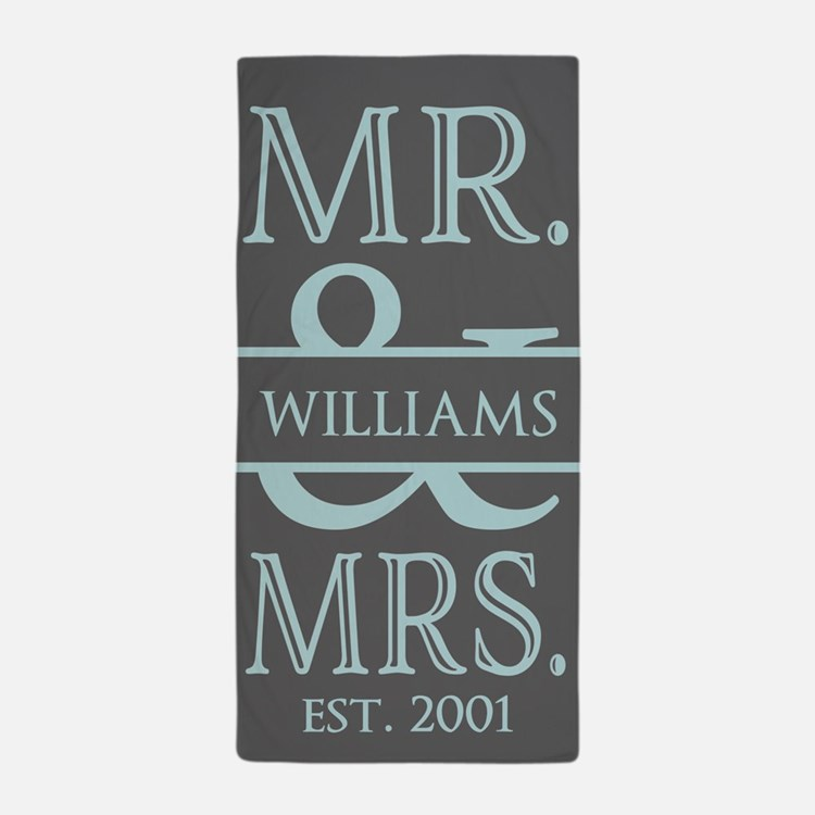 Gray and Blue Mr. and Mrs. Personalize Beach Towel