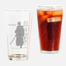 samurai made of education kanji Drinking Glass