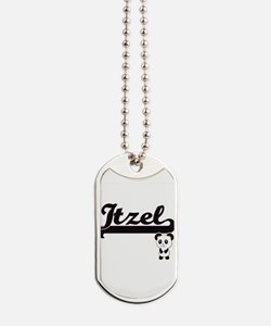 Itzel Classic Retro Name Design with Pand Dog Tags