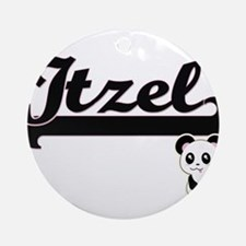 Itzel Classic Retro Name Design w Ornament (Round)
