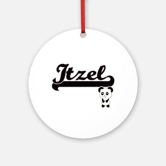 Itzel Classic Retro Name Design w Ornament (Round)