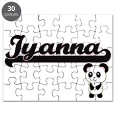 Iyanna Classic Retro Name Design with Panda Puzzle