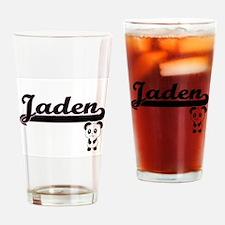Jaden Classic Retro Name Design wit Drinking Glass
