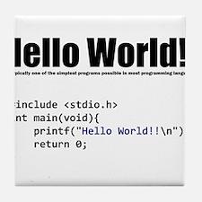 "program that displays a ""hello world"" Tile Coaster"