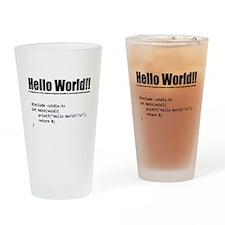 "program that displays a ""hello world"" Drinking Gla"