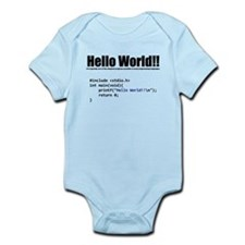 """program that displays a """"hello world"""" Body Suit"""