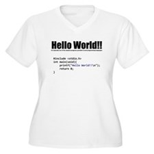 "program that displays a ""hello world"" Plus Size T-"