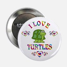 """I Love Turtles 2.25"""" Button (10 pack)"""