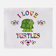 I Love Turtles Throw Blanket