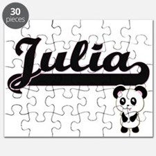 Julia Classic Retro Name Design with Panda Puzzle