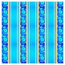 Blue Hibiscus Honu Stripes Poster