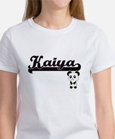 Kaiya Classic Retro Name Design with Panda T-Shirt