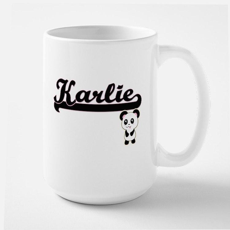 Karlie Classic Retro Name Design with Panda Mugs
