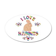 I Love Rabbits 35x21 Oval Wall Decal