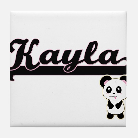 Kayla Classic Retro Name Design with Tile Coaster