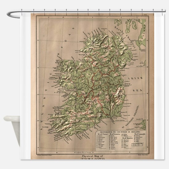 Vintage Physical Map of Ireland (18 Shower Curtain