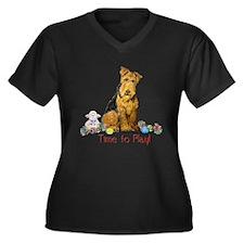 Welsh Terrier Playtime! Women's Plus Size V-Neck D