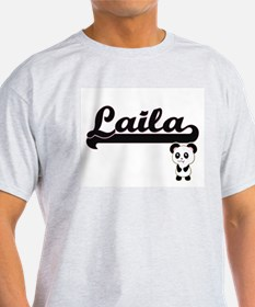 Laila Classic Retro Name Design with Panda T-Shirt