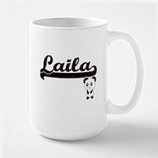 Laila Classic Retro Name Design with Panda Mugs
