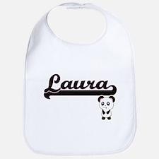 Laura Classic Retro Name Design with Panda Bib