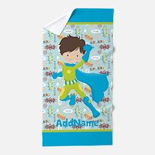 Kids Superhero Character Personalized Beach Towel