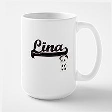 Lina Classic Retro Name Design with Panda Mugs