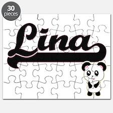Lina Classic Retro Name Design with Panda Puzzle