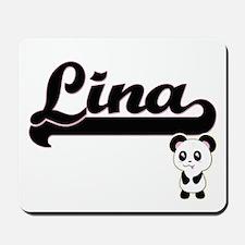Lina Classic Retro Name Design with Pand Mousepad