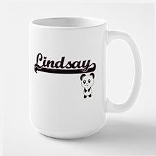 Lindsay Classic Retro Name Design with Panda Mugs