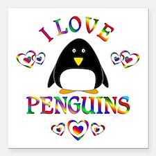 """I Love Penguins Square Car Magnet 3"""" x 3"""""""