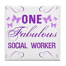 One Fabulous Social Worker Tile Coaster