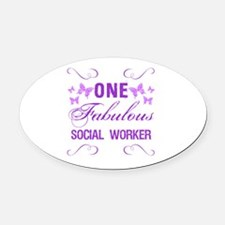 One Fabulous Social Worker Oval Car Magnet