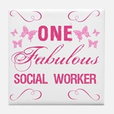 One Fabulous Social Worker Tile Coaster