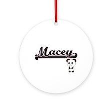 Macey Classic Retro Name Design w Ornament (Round)