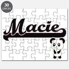 Macie Classic Retro Name Design with Panda Puzzle