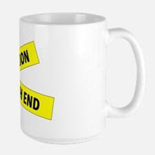 Month End Caution Tape Large Mug